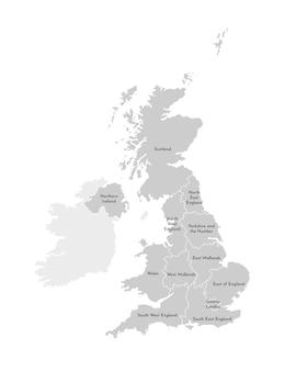 Vector lokalisierte illustration der vereinfachten verwaltungskarte des vereinigten königreichs von großbritannien und von nordirland. grenzen und namen der regionen. graue silhouetten. weiße kontur