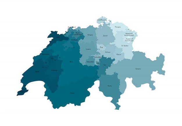 Vector lokalisierte illustration der vereinfachten verwaltungskarte von der schweiz