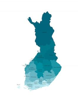 Vector lokalisierte illustration der vereinfachten verwaltungskarte von finnland. grenzen und namen der regionen. bunte blaue kakifarbige schattenbilder