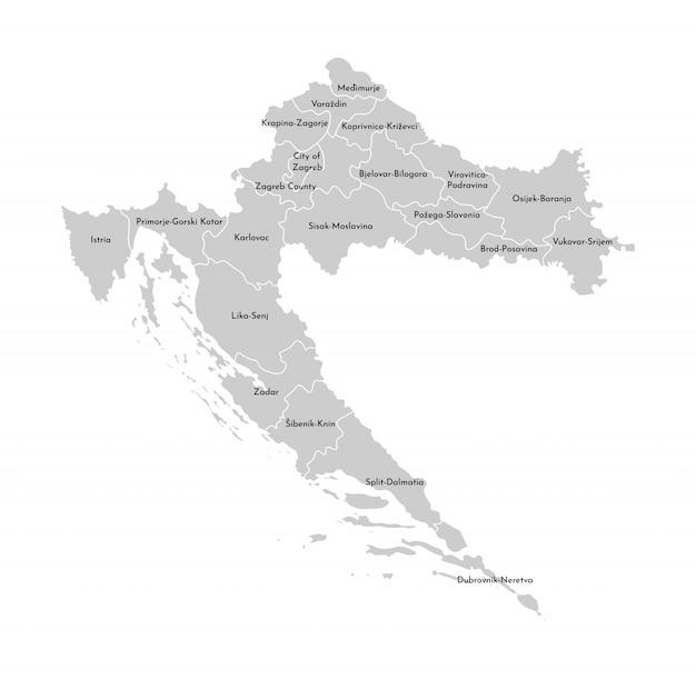Vector lokalisierte illustration der vereinfachten verwaltungskarte von kroatien