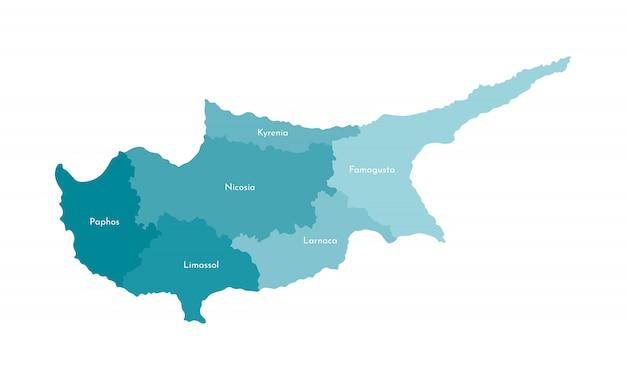 Vector lokalisierte illustration der vereinfachten verwaltungskarte von zypern
