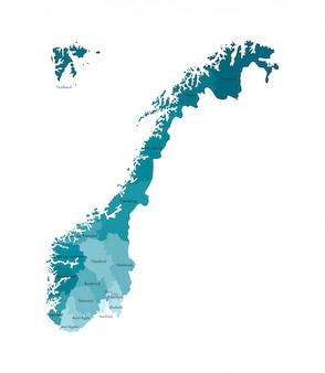Vector lokalisierte illustration mit vereinfachter karte von norwegen, blaue schattenbilder von regionen. namen der landkreise.
