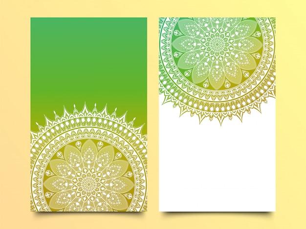 Vector mandalamuster in der farbe zwei für schablone