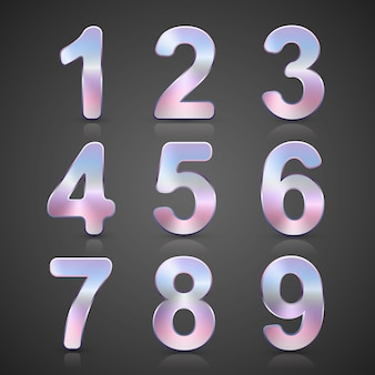Vector metallic silver number set.