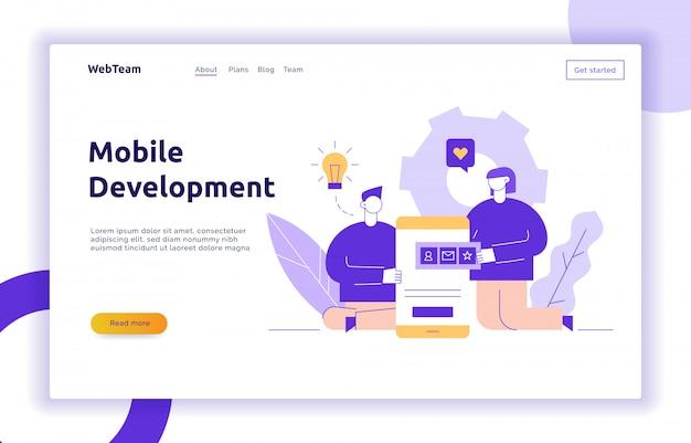 Vector mobile anwendung oder website-entwicklungsprozess