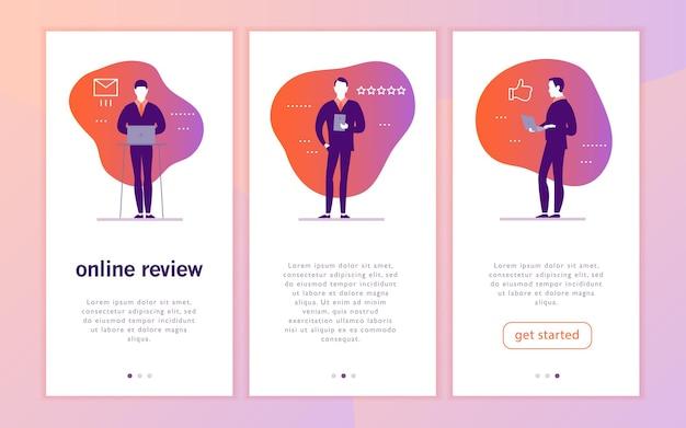 Vector mobile app interface concept design mit online-review-thema büroleute mit gadget-laptop-tablet geben eine sternbewertung daumen hoch sterne liniensymbole landing page ui site template design