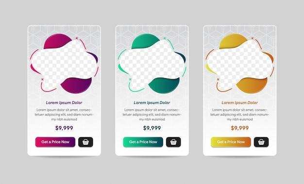 Vector moderne abstrakte blase flüssige preistabellen für das web drei variationsfarben sind lila, gold und grün platz für fotos mit transparenz des vertikalen layouts des sechseckmusters
