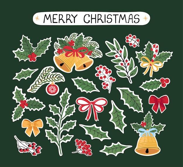 Vector modernes buntes set mit handgezeichneten doodle-illustrationen von weihnachtsobjekten und schriftzügen, aufklebern. verwenden sie es als elemente für design-grußkarten, poster, karten, verpackungspapier-design