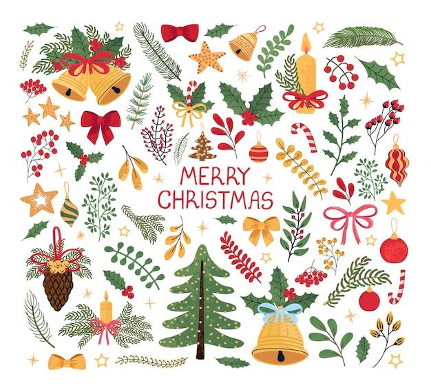Vector modernes buntes set mit handgezeichneten gekritzelillustrationen von weihnachtsgegenständen und -beschriftung. verwenden sie es als elemente für design-grußkarten, poster, karten, verpackungspapier-design