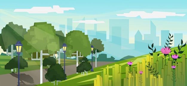 Vector modernes pixelspielartillustration des öffentlichen parks der stadt mit dem hintergrund der wolkenkratzergebäude.