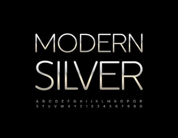 Vector modernes silbernes alphabet luxusset von glänzenden buchstaben und zahlen number
