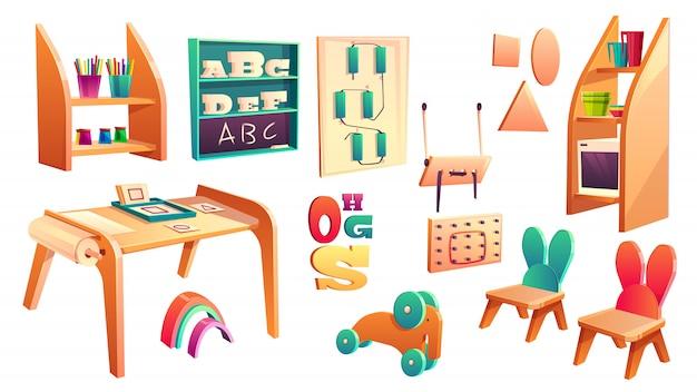 Vector montessori satz, elemente für die volksschule, die auf weißem hintergrund lokalisiert wird. kindergarten für