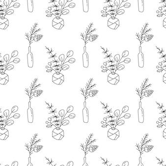 Vector muster-betriebsblumenstrauß der weihnachtsminimalistischen monoline skandinavischen nahtlosen in den flaschen