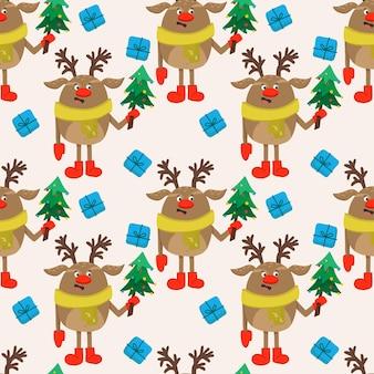 Vector nahtlosen weihnachtshintergrund mit einem rentier der frohen weihnachten in einem schal und einem weihnachtsbaum.