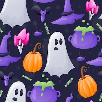 Vector nahtloses cartoon-halloween-muster mit kürbissen, zauberpilzen, hut mit breiter krempe und kessel mit trank.