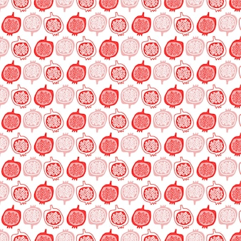 Vector nahtloses modemuster des granatapfelfruchtillustrations-designhintergrundes
