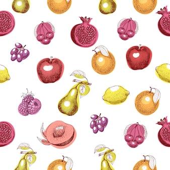 Vector nahtloses muster der früchte hand gezeichnetes