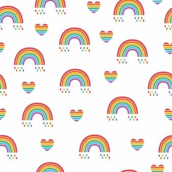 Vector nahtloses muster der hellen lgbt-regenbogenflagge und des herzens lokalisiert auf weißem hintergrund. stolz