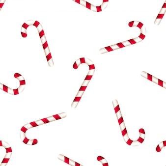 Vector nahtloses muster der realistischen zuckerstange mit den roten und weißen streifen