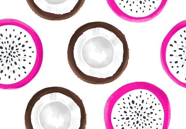 Vector nahtloses muster mit drachefrucht und kokosnuss. pitaya oder pitahaya.