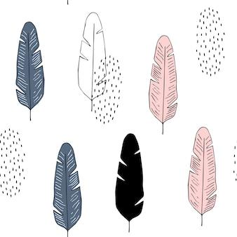 Vector nahtloses muster mit federn in der skandinavischen art