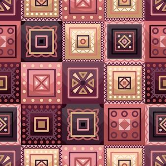 Vector nahtloses muster mit geometrischen quadratischen elementen des boho. flacher stil