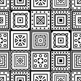 Vector nahtloses muster mit geometrischen quadratischen elementen des boho. umrisse