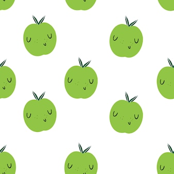 Vector nahtloses muster mit grünen äpfeln emoji. gesunde ernährung und vitamine