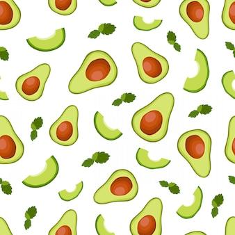 Vector nahtloses muster mit halber avocado und scheiben