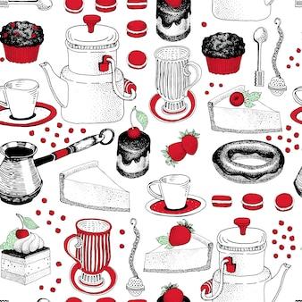 Vector nahtloses muster mit hand gezeichneten kaffee- und nachtischillustrationen. kann für bäckerei, konditorei, café, shop und produkte verwendet werden.