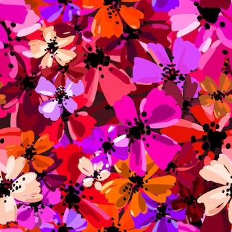 Vector nahtloses muster mit handzeichnungsblumen, wiederholbarer botanischer hintergrund.