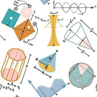 Vector nahtloses muster mit mathematik für schule