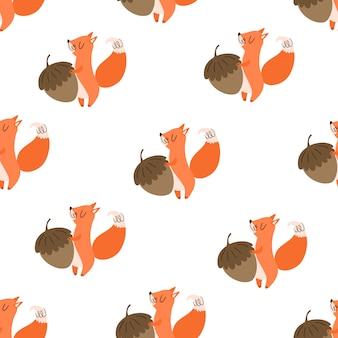 Vector nahtloses muster mit netten eichhörnchen und nüssen. flacher, handgezeichneter stil. baby-print, süße tiere