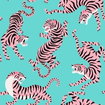 Vector nahtloses muster mit netten tigern auf hintergrund.