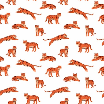 Vector nahtloses muster mit niedlichen tigern auf dem weißen hintergrund zirkustiershow tiger jahr