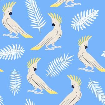 Vector nahtloses muster mit tropischen blättern und papageien regenschirmkakadu-sommerillustration