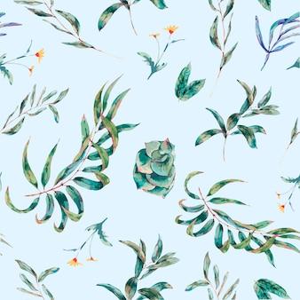 Vector nahtloses muster von grünblättern und -succulents