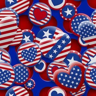 Vector nahtloses muster von verschiedenen usa-symbolen in den roten und blauen farben auf dem hintergrund mit löchern. unabhängigkeitstag vereinigte staaten von amerika