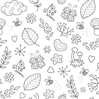 Vector nahtloses schwarzweiss-muster mit einzelteilen der natur auf weißem hintergrund