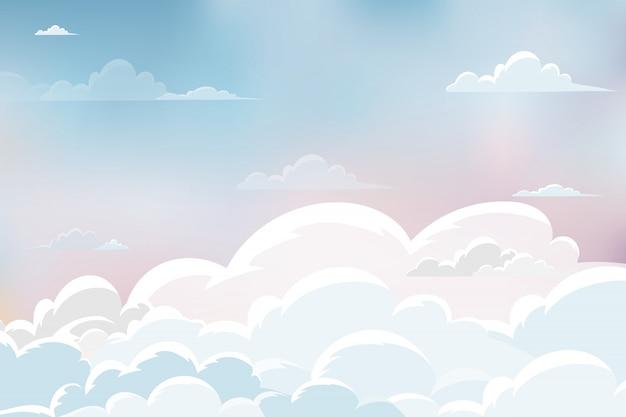 Vector naturlandschaft auf blauem, rosa, gelbem pastellhimmel und flaumiger weißer wolke