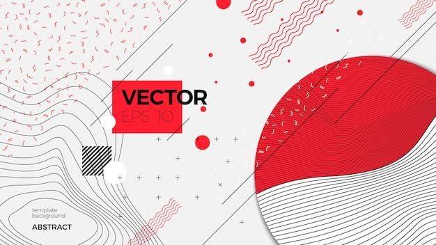 Vector neue abstrakte hintergrundvorlage im memphis-stil, weiß modern mit geometrischen formen und platz für ihren text.