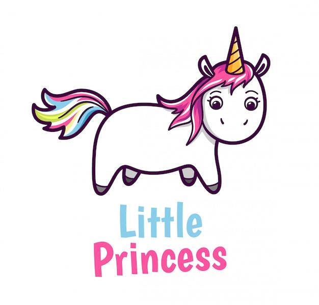 Vector niedliches baby unicorn mit regenbogenfarbhaaren