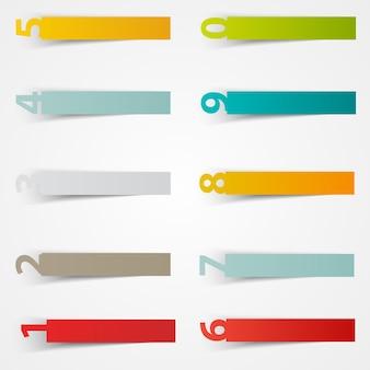 Vector nummer aufkleber vorlage. farbpapier