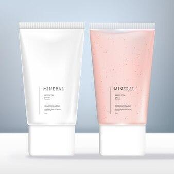 Vector opake oder clear flat oder oval beauty tube verpackung mit weißem schraubverschluss pink und weiß