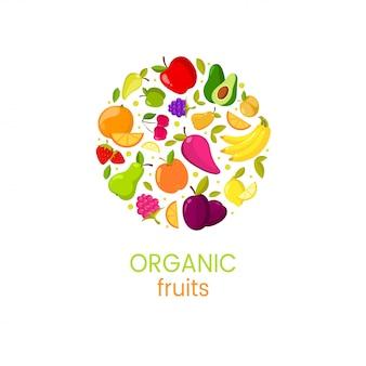 Vector organische fruchtfahne mit natürlicher illustration des neuen lebensmittels
