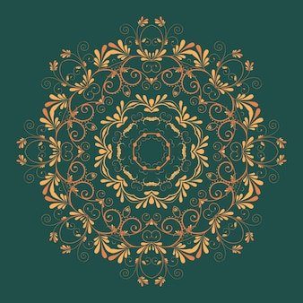 Vector ornamentale runde spitze mit damast und arabesken-elemente. mehndi-stil. orient traditionelle verzierung. zentangle-like runde farbige blumen ornament.