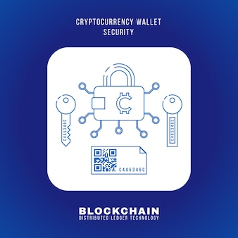 Vector outline design blockchain cryptocurrency wallet sicherheitsprinzip erklären schema illustration weißes abgerundetes quadrat symbol isoliert auf blauem hintergrund