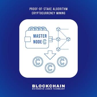 Vector outline design blockchain proof of stake algorithmus kryptowährung pos-mining-prinzip erklären schema illustration weißes abgerundetes quadratisches symbol isoliert auf blauem hintergrund