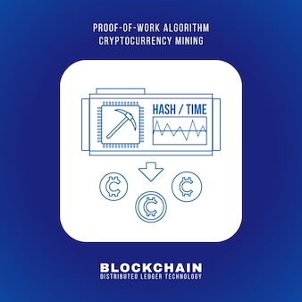 Vector outline design blockchain proof of work algorithmus kryptowährung pow mining prinzip erklären schema illustration weißes abgerundetes quadratisches symbol isoliert auf blauem hintergrund