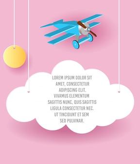 Vector papierkunst des wolken- und flugzeugfliegens im himmel. template-werbung